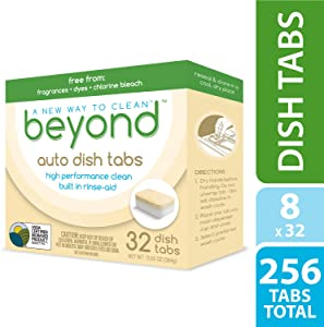 Beyond Natural Auto Dishwasher Tablets - USDA Certified 75% Biobased - Fragrance & Dye Free with Built-in Rinse-Aid (1 Case of 8 Boxes)