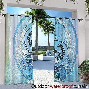 Tim1Beve Cortina de Puerta corredera Japonesa Soul Mate étnico Oriental exótico Peces en gradiente Redondo Enmarcado mar ilusión Impermeable Patio Puerta Panel Azul Lila: Amazon.es: Jardín