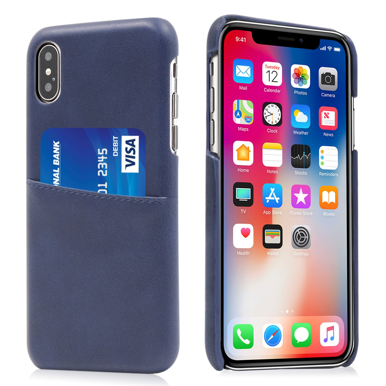 Buruis iPhone X Slim Card Case, Premium PU Leather Shockproof Wallet Case with Credit Card Slot Holder for Apple iPhone X (Blue)