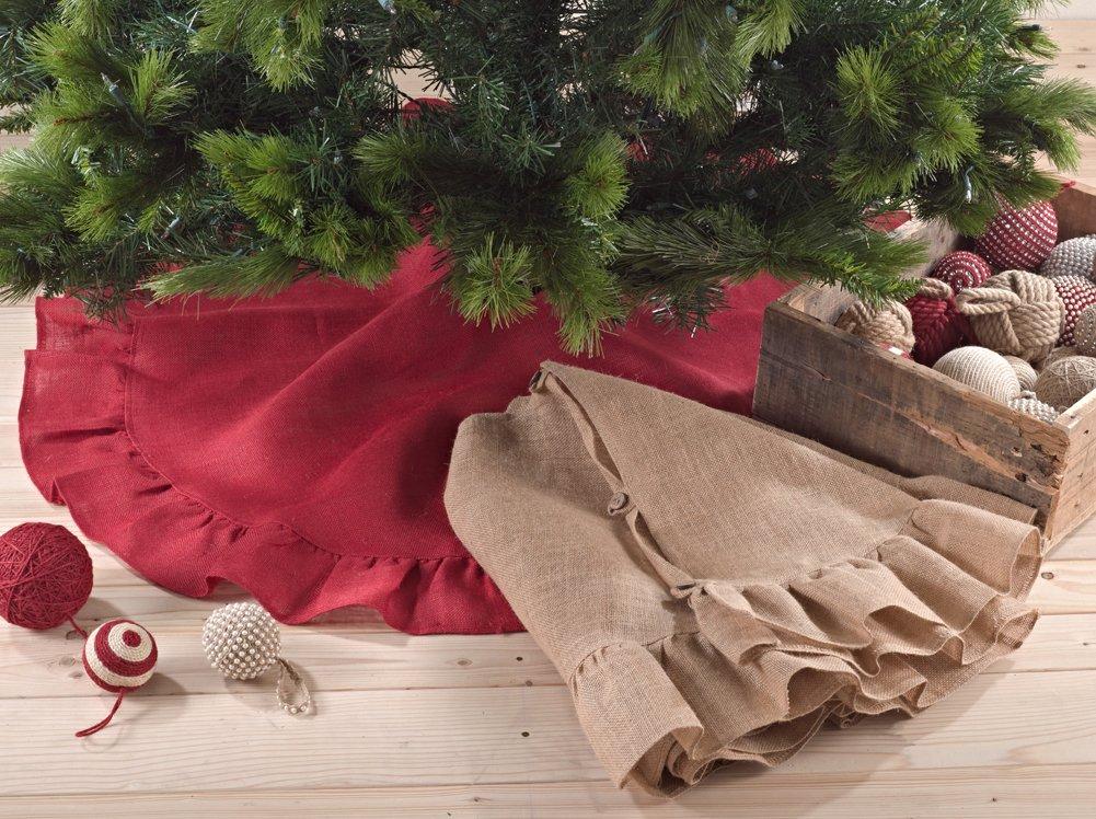 Fennco Styles Holiday Décor Ruffle Trim Jute Burlap Xmas Tree Skirt, 53-inch Round (Red)