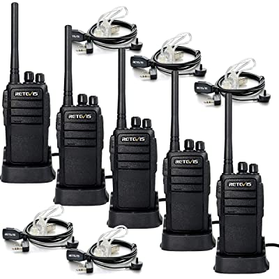 Retevis RT21 Walkie Talkie Rechargeable FRS Hand Free Adults Two Way Radio UHF 16CH Secure Emergency Commercial 2 Way Radio with Earpiece (5 Pack)