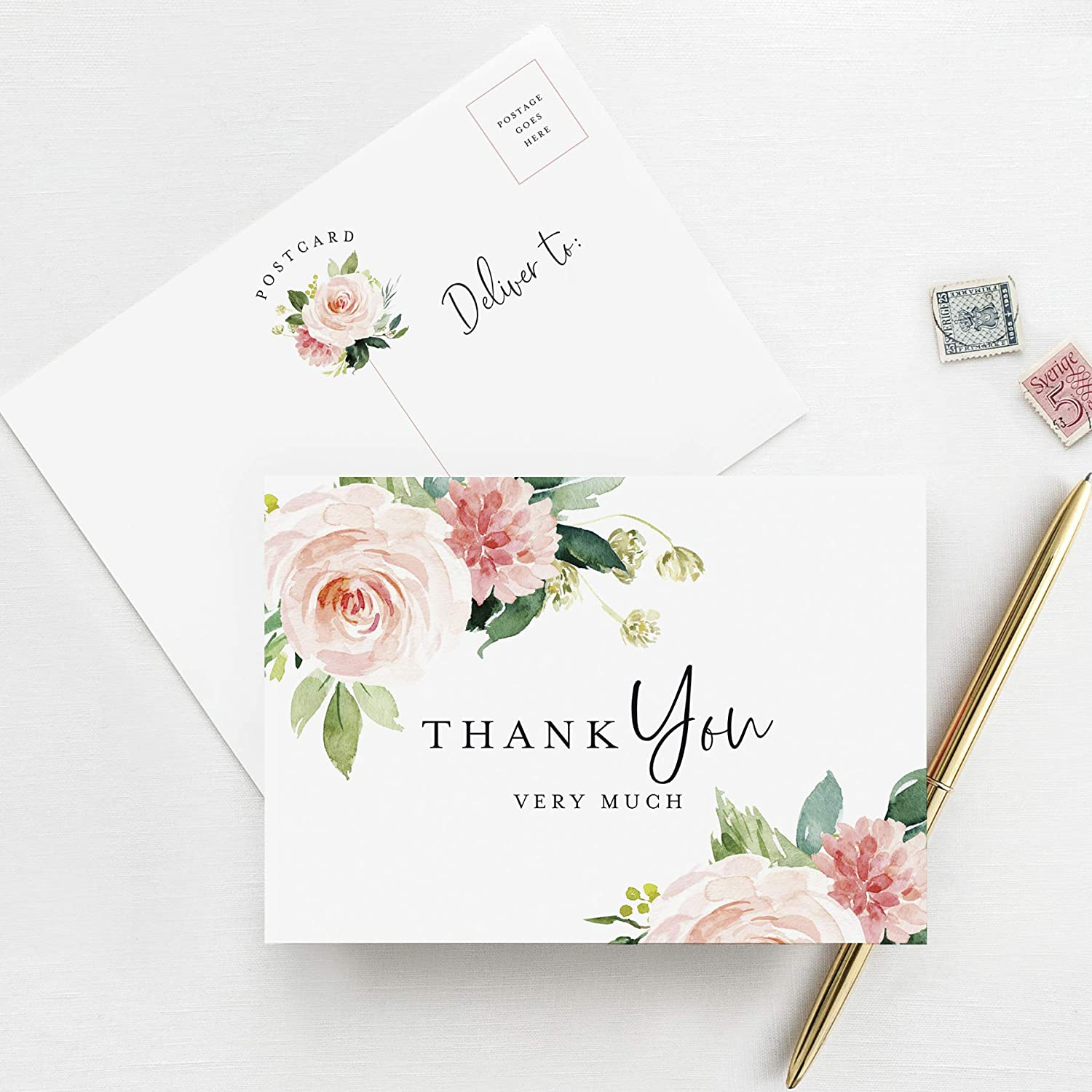 Floral Thank You Card Template 100/% Editable Text Blush Pink Thank You Note TRY BEFORE You BUY