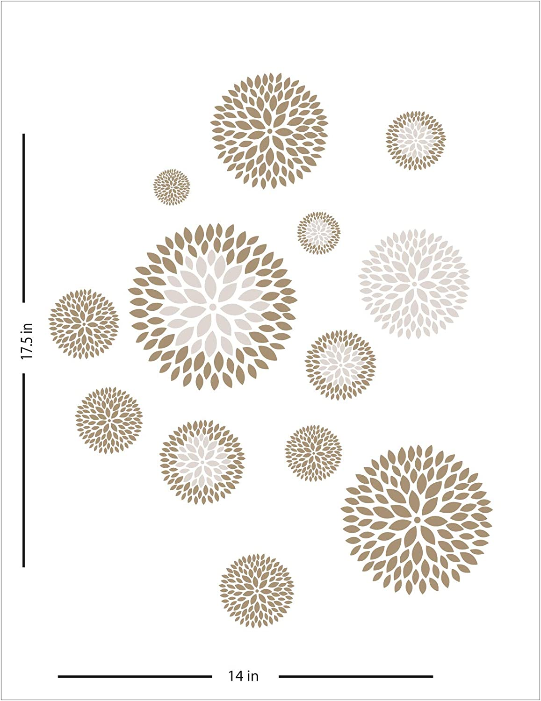 Beautiful Flower Circles Wall Art Decal Stickers Décor 14