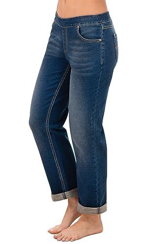 PajamaJeans Women's Boyfriend Stretch Knit Denim Jeans in Bluestone G04045