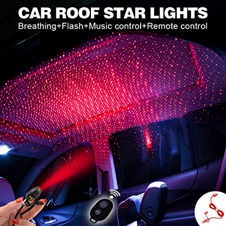 img buy Car interior lights LED decorative armrest box car roof full star projection laser,Romantic Auto Roof Star led,The interiors Multiple Modes Lights for car/Home/Party-No Need to Install(Red-Starry sky)
