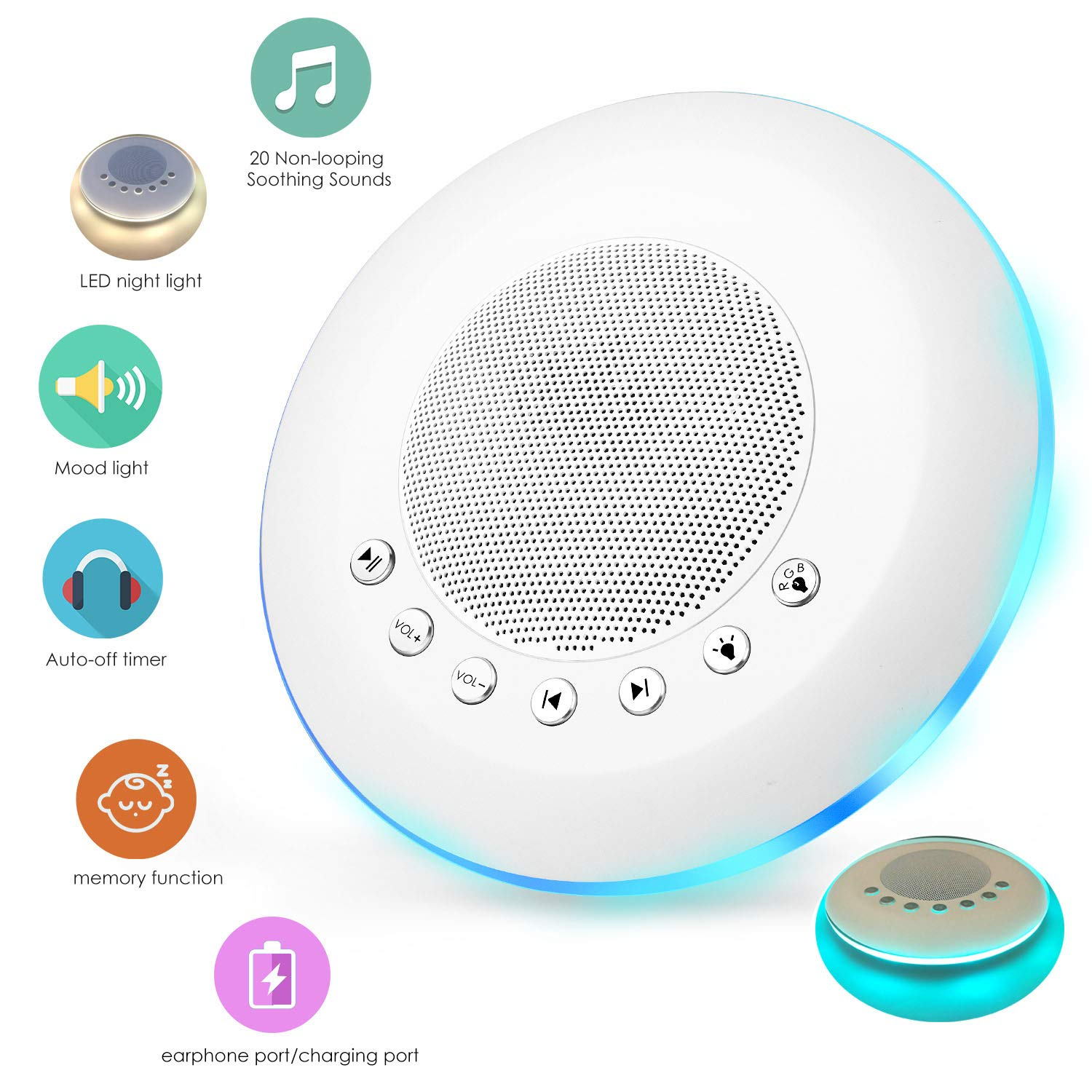 sendcool White Noise Sound Machine for Sleeping, 20 Non-Looping Soothing Sounds Lullaby Colorful Night Light Timing Baby Therapy Sound Machine, Auto-Off Timer Battery or USB Output Charger (White) by sendcool