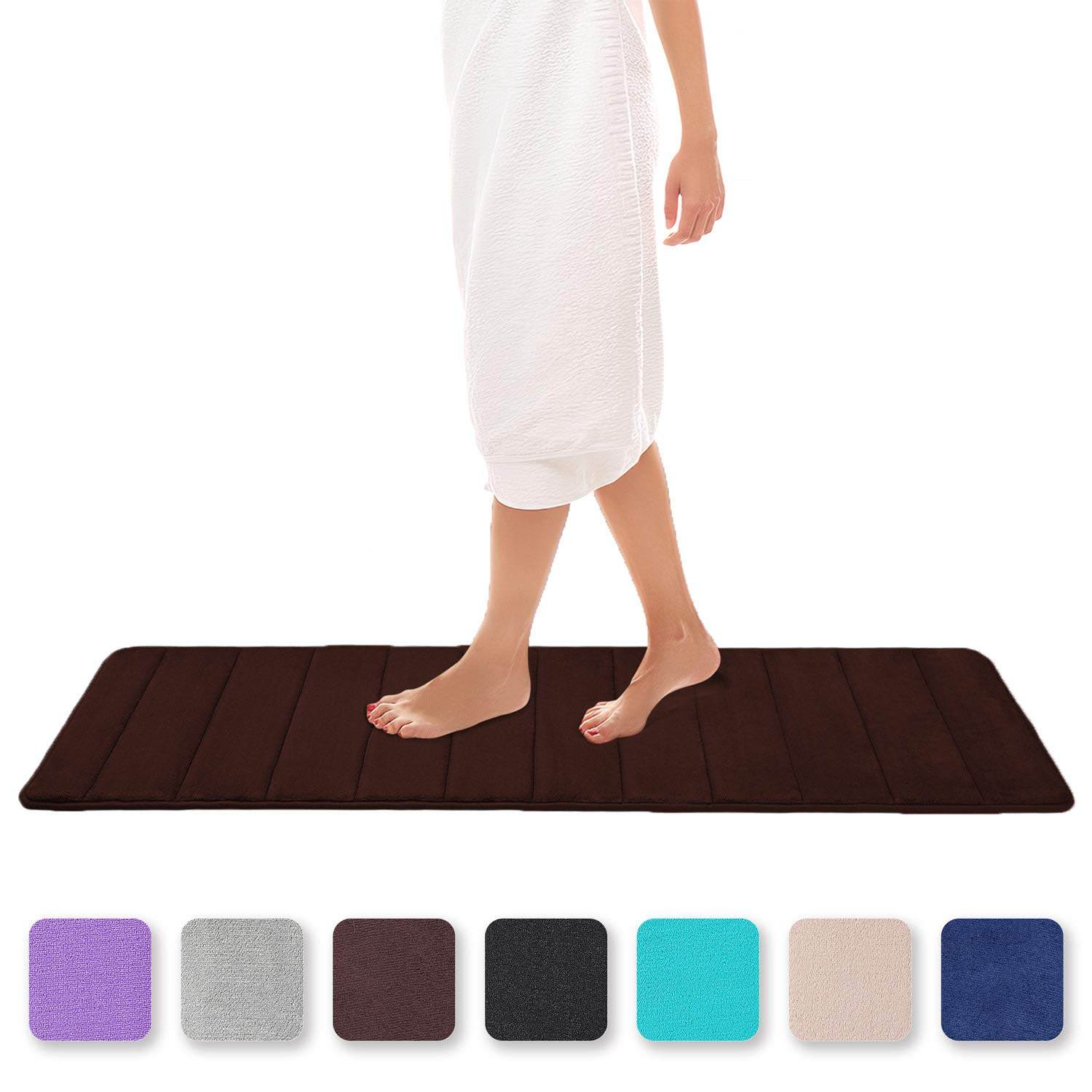 Colorxy Memory Foam Bath Mat - Soft & Absorbent Bathroom Rugs Non Slip Large Bath Rug Runner for Kitchen Bathroom Floors 24''x70'', Chocolate