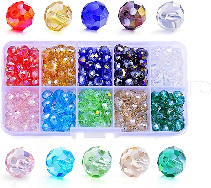1000pcs Bingcute 4mm Wholesale Briolette Crystal Glass Beads Finding Spacer Beads Faceted #5040 Briollete Rondelle Shape Assorted Colors With Container Box 4mm