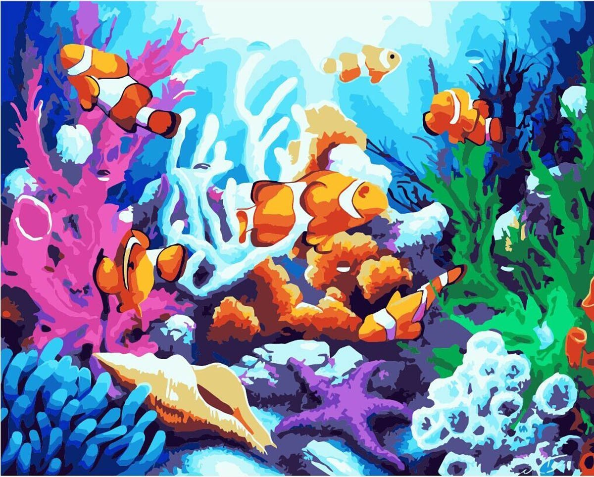 "[ Wooden Framed ] Alb 16 "" x 20 ""ペイントby Numbers Diy Painting有名なペイントコレクション2 ALB40_8202 B00SGIQ9N0 Finding Nemo Finding Nemo"