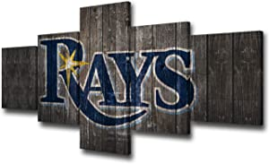 """TUMOVO Wooden Look Canvas Wall Art Tampa Bay Rays Logo Picture America Baseball Sports Painting 5 Piece Artwork Home Decor for Living Room Framed Ready to Hang 50"""" Wx24 H"""