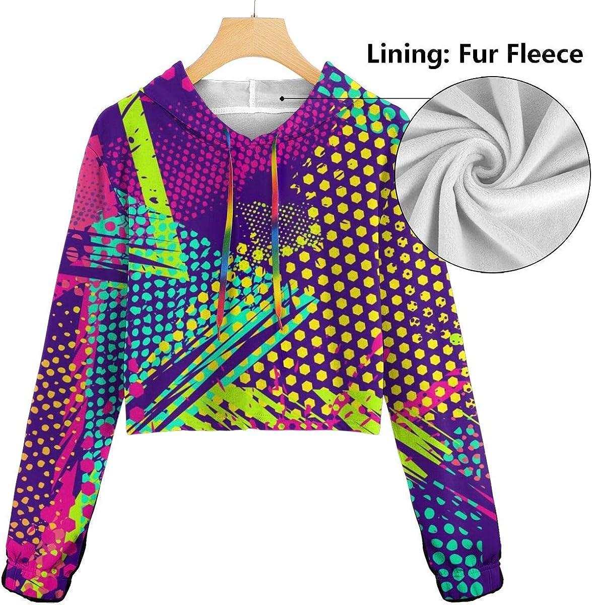 Womens Hoodie Sweater Abstract Seamless Geometric Pattern Crop Top Sweatshirt Lumbar Sweatshirt Cropped Hoodie