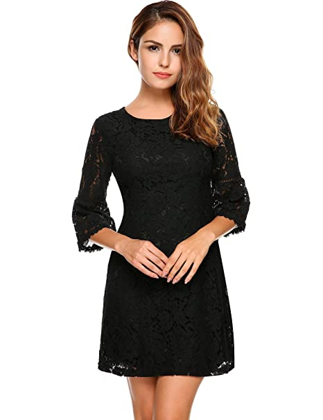 Faneo Womens Summer Floral Lace A-Line Cocktail Party Dress 3/4 Flare Sleeve Knee Length Dresss at Amazon Womens Clothing store: