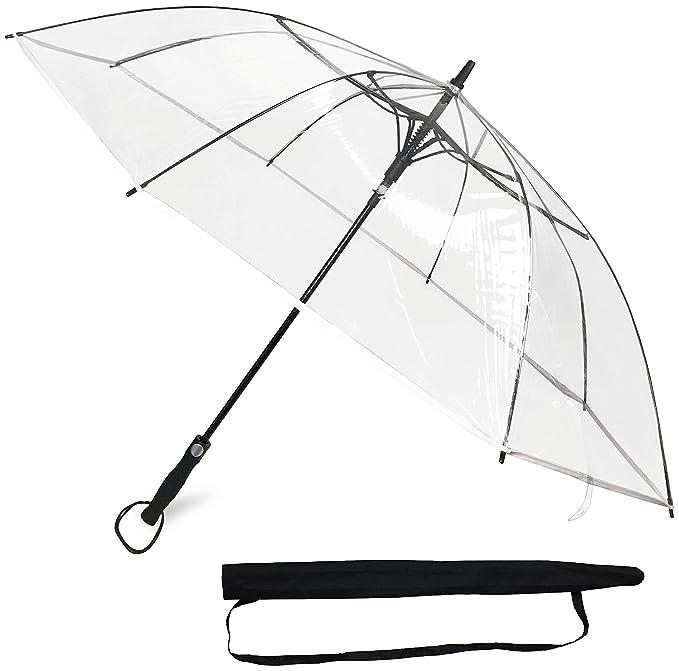 Sternenfunke® Regenschirm XXL Ø130 cm groß transparent | Komfort Druckknopf | mit Tragehülle | Rand weiß | Automatik | auch a