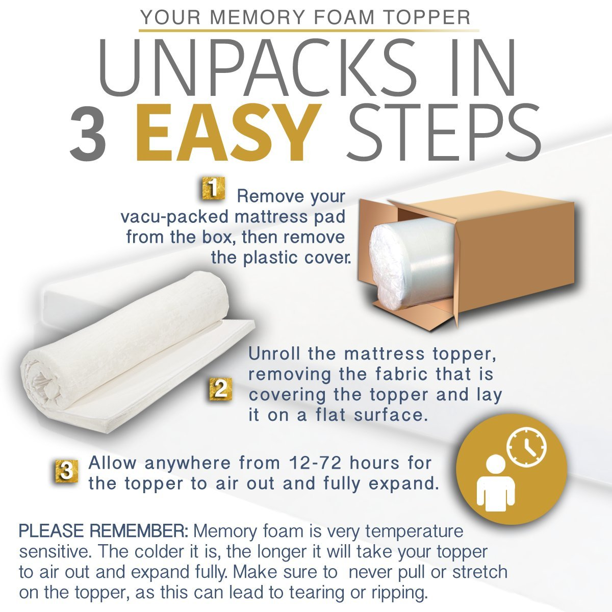 Amazon.com: Memory Foam Mattress Topper Full Size - Made in The USA - 2  Inch Full Size Mattress Topper - Next Level Comfort Full Mattress Topper -3  Year ...