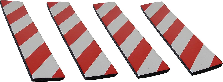 SNS SAFETY LTD Protectoras Paragolpes de Pared Parking, Autoadhesivas, en Goma Espuma, para Aparcamientos y Garajes, 44x10x1,5 cm, 4 Piezas (Rojo Blanco)