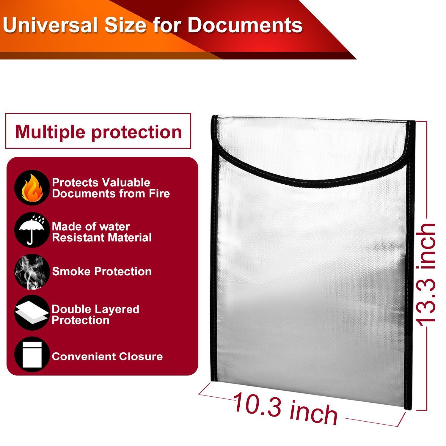 Fire Protective Security Storage Bag for Money Fiberglass Legal Documents and Jewelry Zipper Velcro Closure Waterproof Fireproof Safe Document Bag 15 x 12 x 2.5, Black
