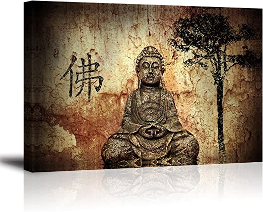 """Buddha Wall Art for Living Room, PIY Peaceful Buda Statue Picture Canvas  Prints, Zen Painting Home Decor (10"""" Thick Frame, Waterproof Artwork,  Bracket"""