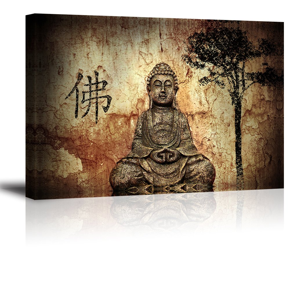 Amazon com piy 1 panel buddha wall art zen canvas prints wall decor 1 framed thick waterproof posters prints