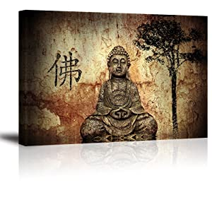"Buddha Wall Art for Living Room, PIY Peaceful Buda Statue Picture Canvas Prints, Zen Painting Home Decor (1"" Thick Frame, Waterproof Artwork, Bracket Mounted Ready to Hang)"