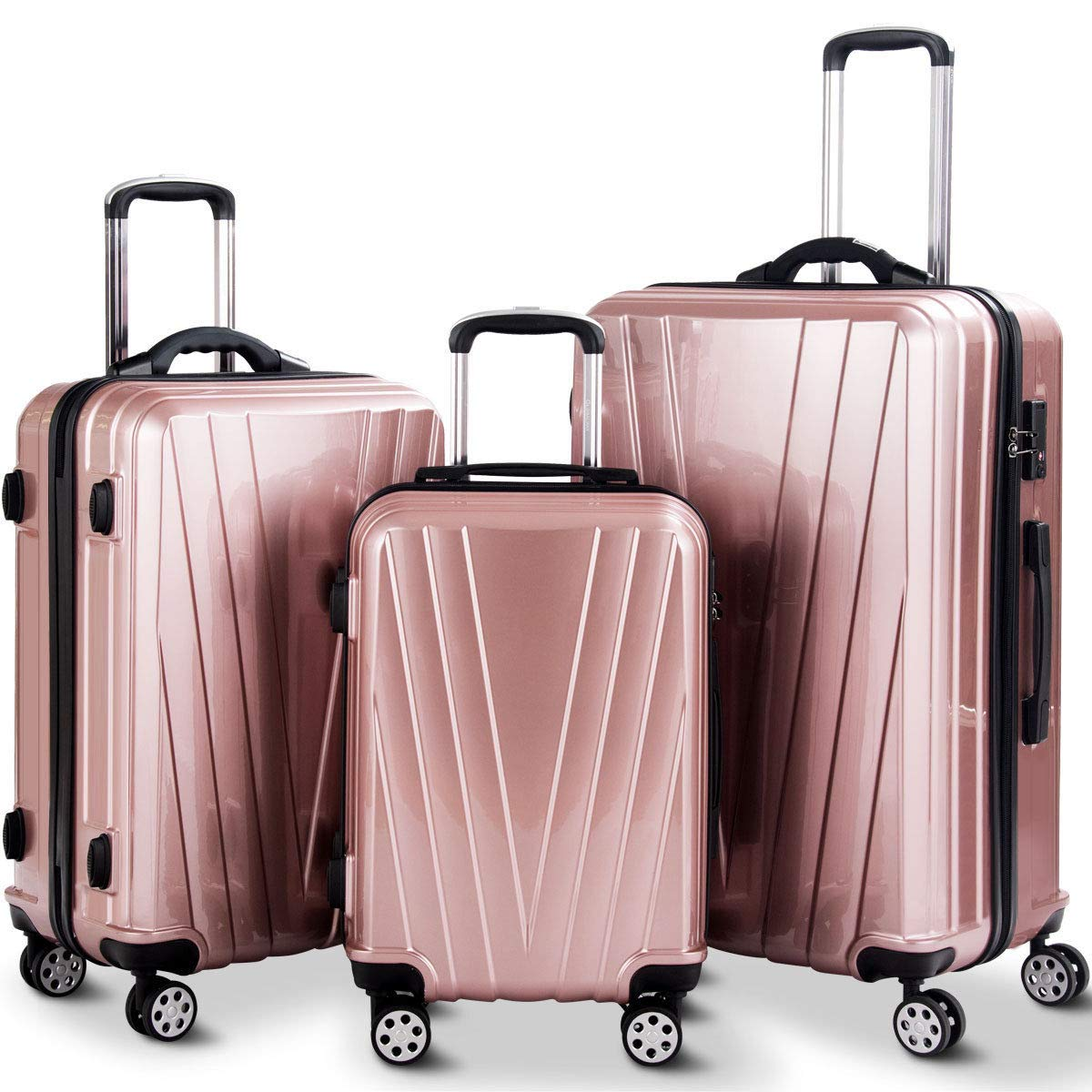 e0e7160d790b Goplus 3PCS Luggage Set Expandable Travel Suitcase Hardside Carryon Luggage  Set w/TSA Lock, Weighting Handle (20/24/28) (Pink)
