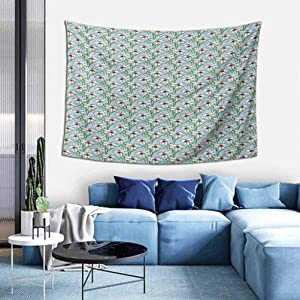 Flower Wall Hanging Pattern with Flourishing Artistic Lilies Garden Growth Spring Season Illustration Wall Tapestry for Bedroom Living Room Tablecloth Dorm W51 x L60 inch Multicolor
