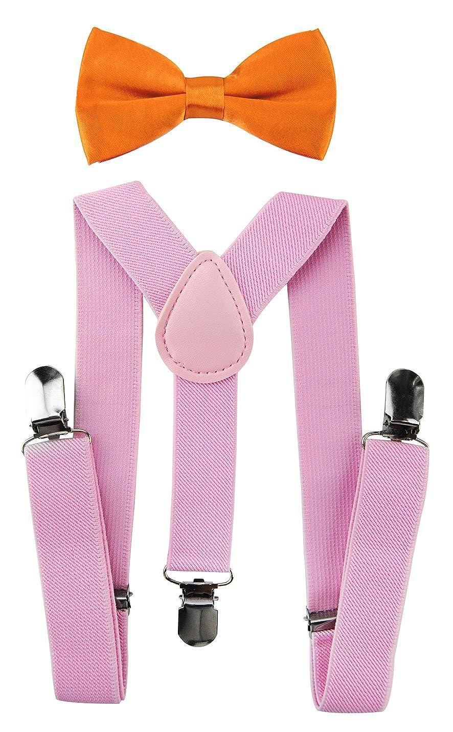axy Kinder Pink Hosenträger-Y Form mit Fliege- 3 Clips EXTRA STARK HTKS25-PIN