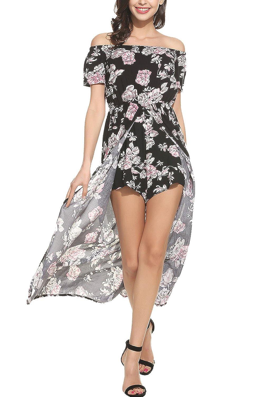 faefb8a28ab Amazon.com  Bluetime Women Floral Off Shoulder Beach High Low Split Maxi  Romper Jumpsuit Dress Black
