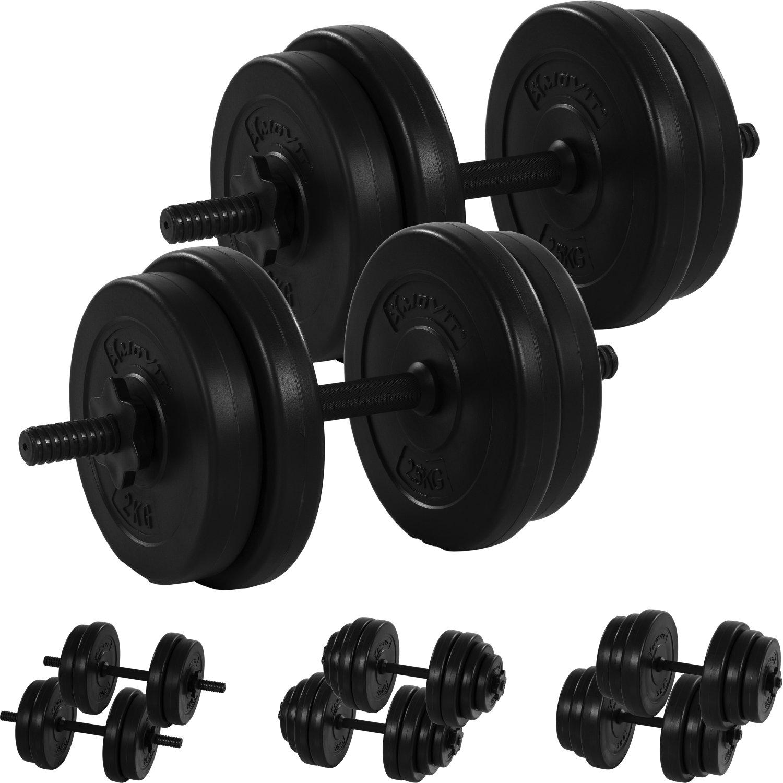 30kg Varianten 20kg MOVIT/® Kurzhantel 2er Set Stangen ger/ändelt mit Sternverschl/üssen 40kg