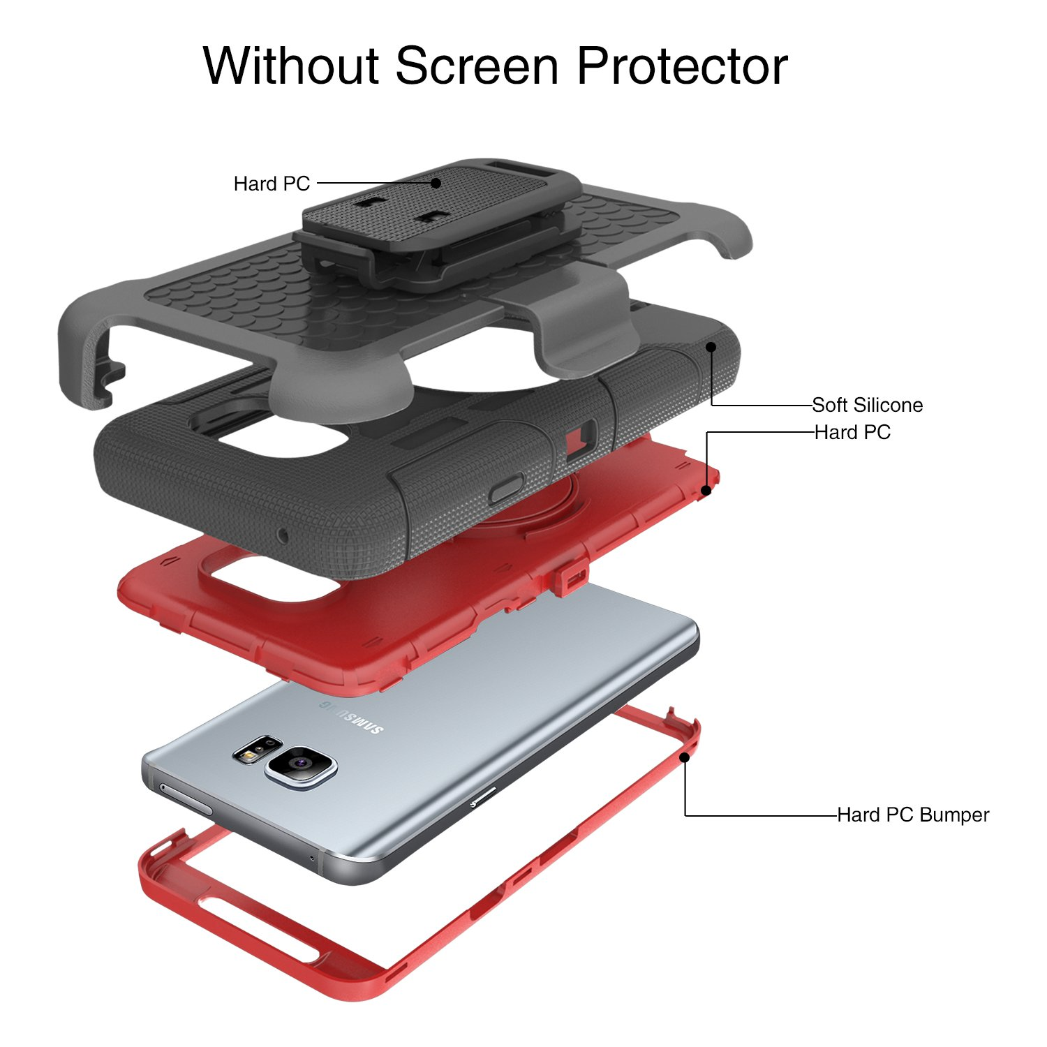 Note 5 Case BENTOBEN Galaxy Note 5 Case Shockproof Heavy Duty Hybrid Full Body Rugged Holster Protective Case for Samsung Galaxy Note 5 with Kickstand Galaxy Note 5 Case Red Belt Clip