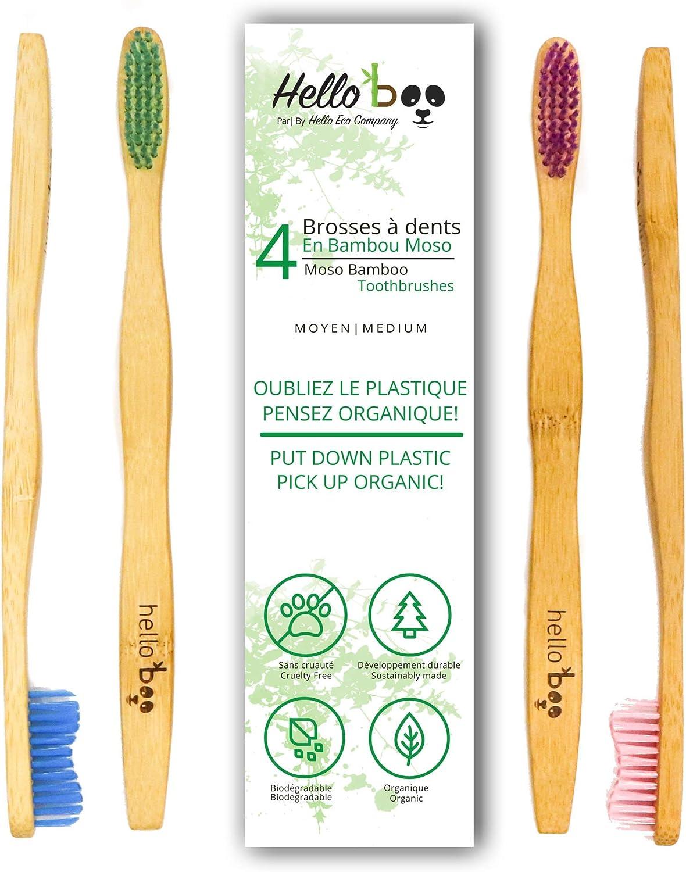 Hello BooCepillo de dientes de bambú para adultos, Pack De 4, 1 ...
