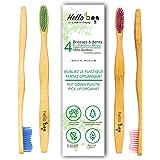"""Hello BooCepillo de dientes de bambú para adultos, Pack De 4, 1 uds. por paquete, 8.00[set de ] """