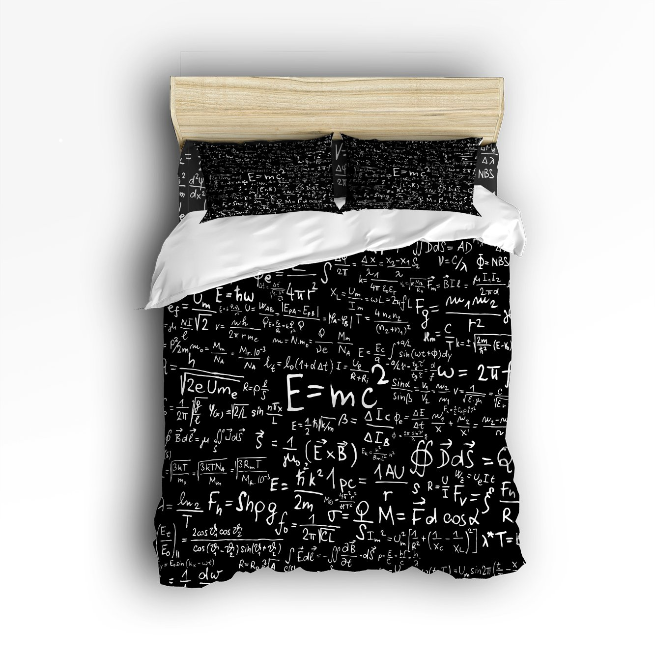 4 Pieces Home Comforter Bedding Set, Einstein Physics Formula Science Geek Black White Full Size