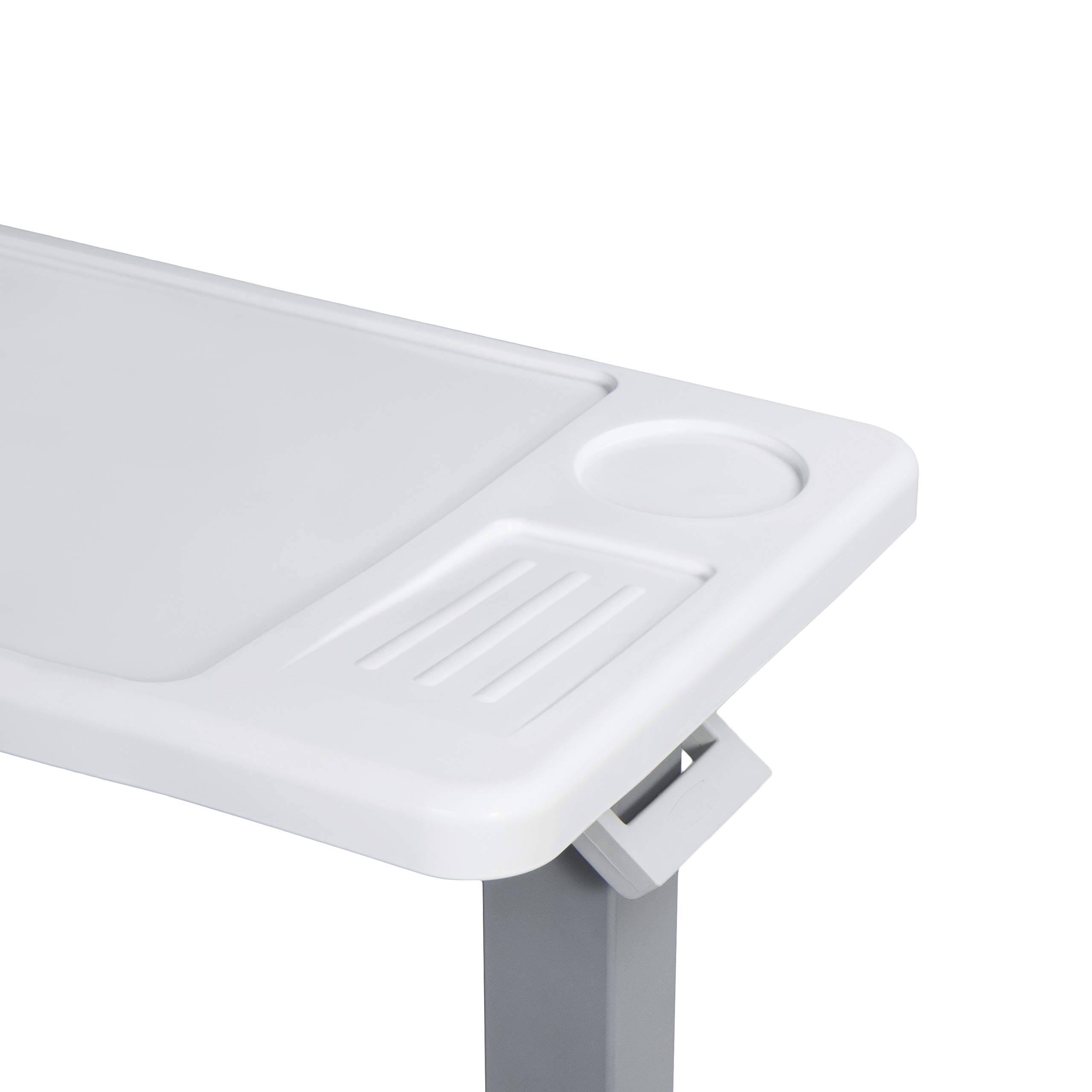 Vaunn Medical Deluxe Adjustable Overbed Bedside Table with Wheels (Hospital and Home Use) by Vaunn (Image #2)