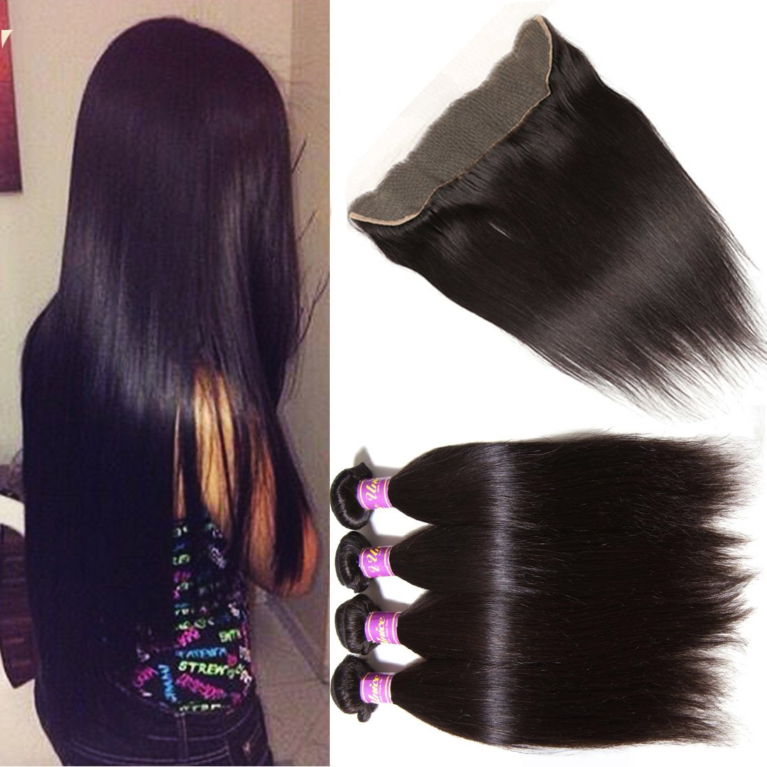 Unice Hair Malaysian Straight Virgin Hair 3 Bundles Wefts with 13X4 Ear to Ear Lace Frontal Closure Human Hair Extensions Natural Color (14 16 18+12Frontal)