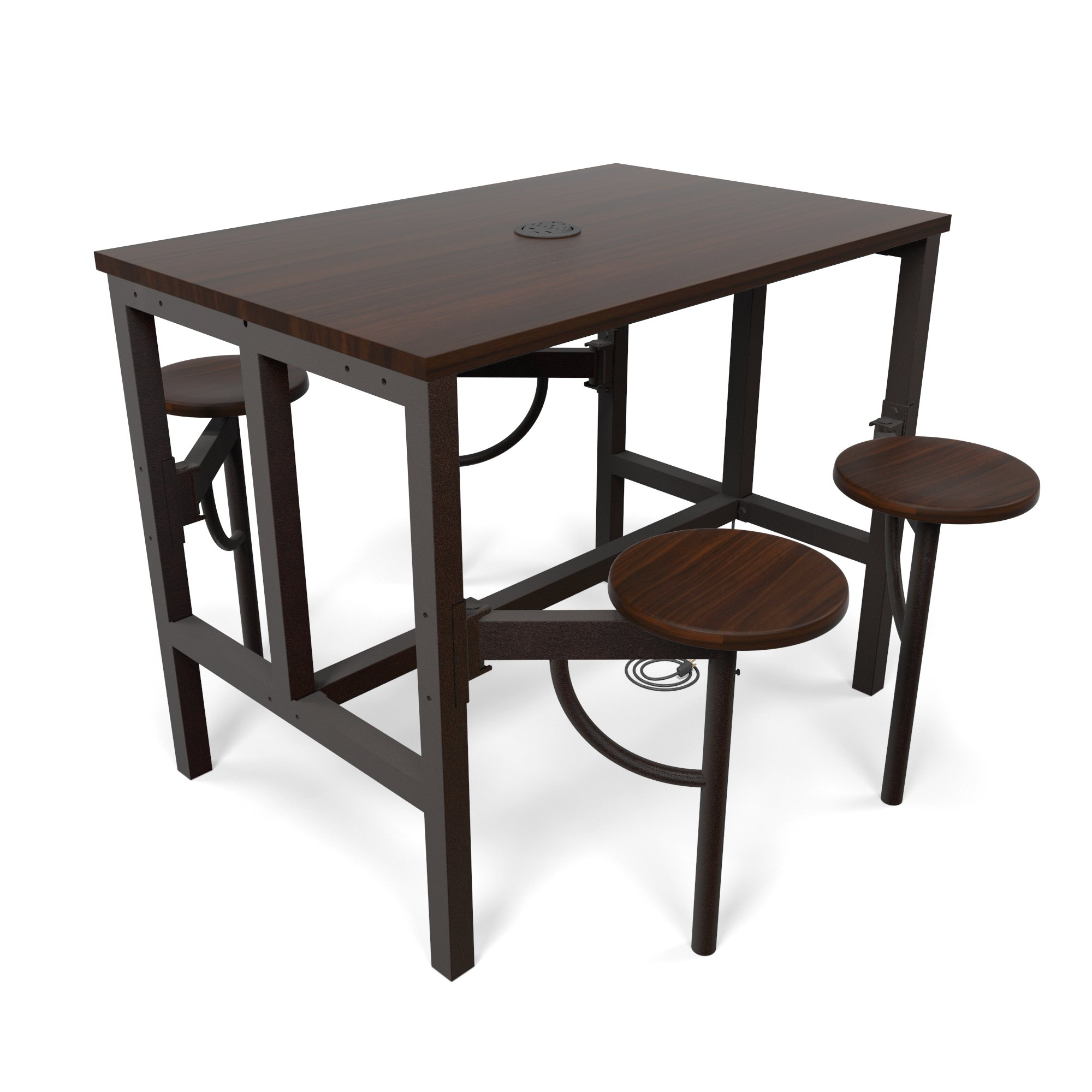 OFM 9004-WLT-WLT Model 9004 Endure Series Standing Height 4 Seat Table, 38'' Height, 31.25'' Width, 47.625'' Length, Walnut by OFM (Image #1)