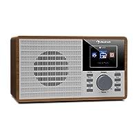 "auna IR-160 Internet radio • Radio alarm • Digital radio • WLAN • MP3/WMA-compatible USB port • AUX • Alarm clock • Music streaming via UPnP • 2.8"" TFT color display • Retro look • Brown wood veneer"