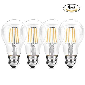 Wedna Bombilla decorativa LED con filamento, 4W E27 2700K blanco cálido Edison Bombillas, equivalente
