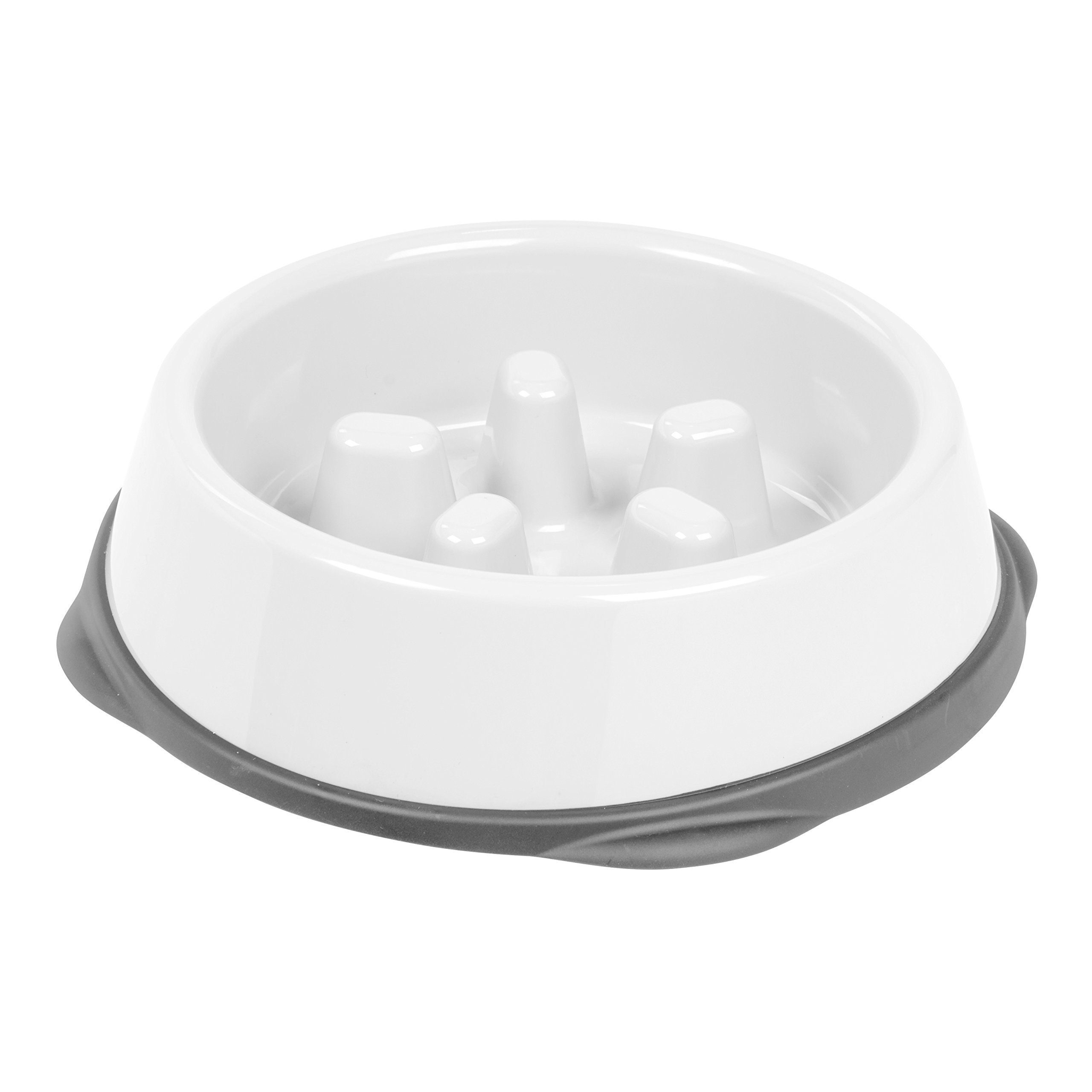 IRIS Slow Feeding Bowl for Short Snouted Pets, White/Gray
