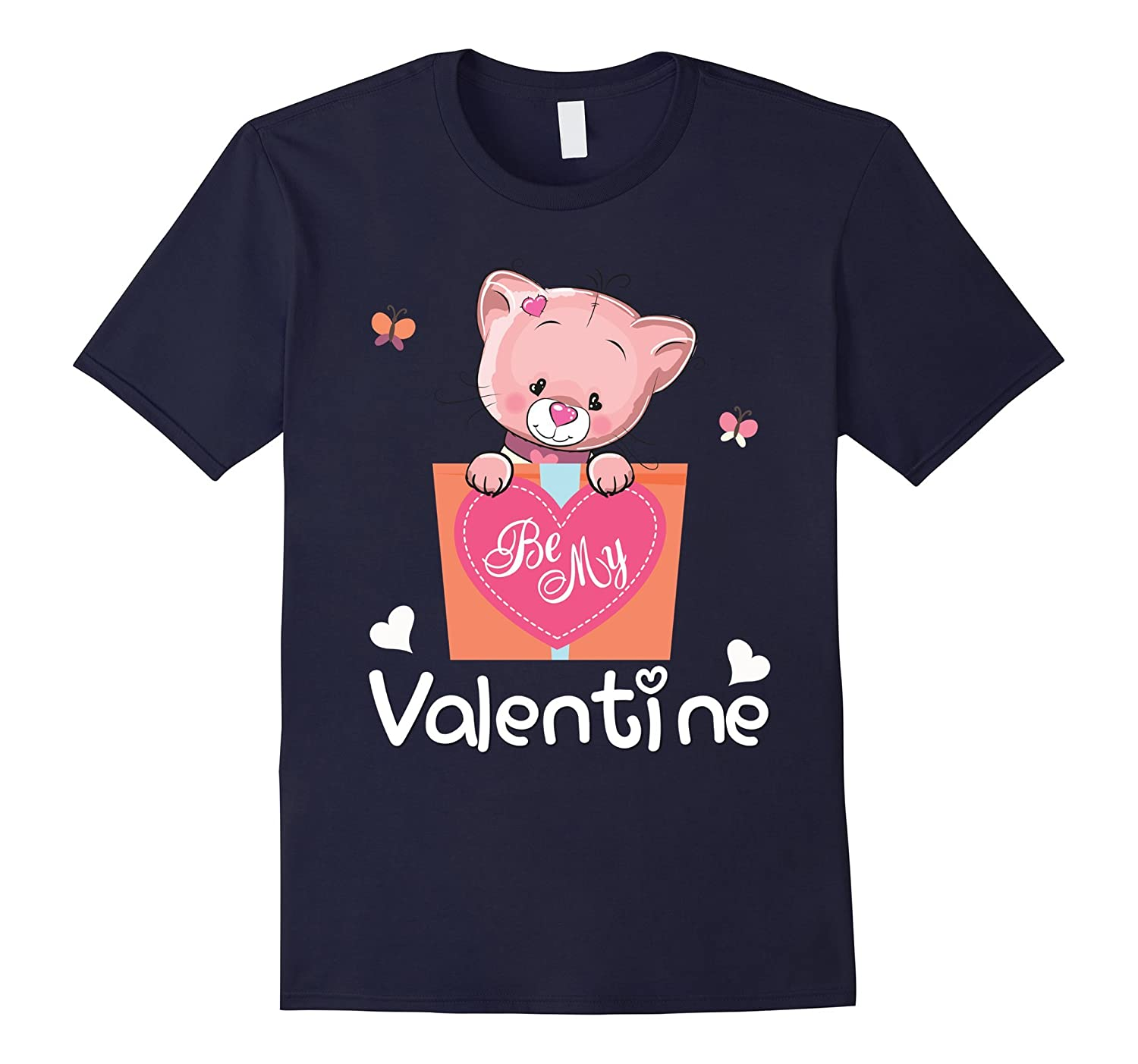 Valentines Day Be my Valentine T-Shirt Cat for Boys & Girls-CL