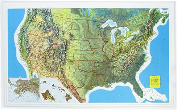 US Raised Relief Topographical Map - 3D - Rand McNally