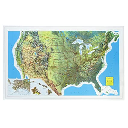 Raised Relief Maps Amazon.: U.S. Raised Relief Topographical Map   3D   Rand