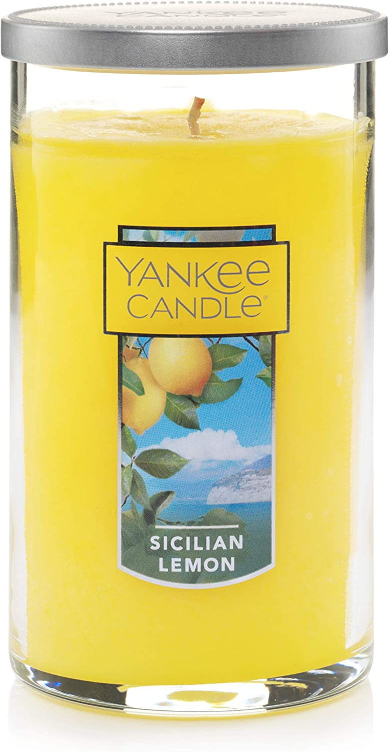 Yankee Candle Medium Pillar Jar Sicillian Lemon Scented Premium Grade Candle Wax with up to 110 Hour Burn Time