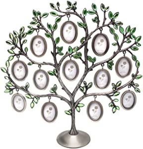 QTMY Metal Crystal Family Tree with 12 Hanging Picture Frames Collage Desk Ornaments