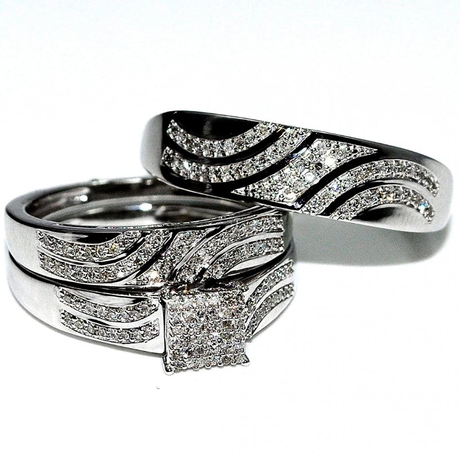 amazoncom his and her rings trio wedding set white gold 04cttw diamonds square topij i2i3 jewelry - Wedding Set Rings