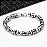 Aooaz Silver Material Bracelet Six-Word Mantra Memoirs Curb Cuff Bracelet Men Necklaces