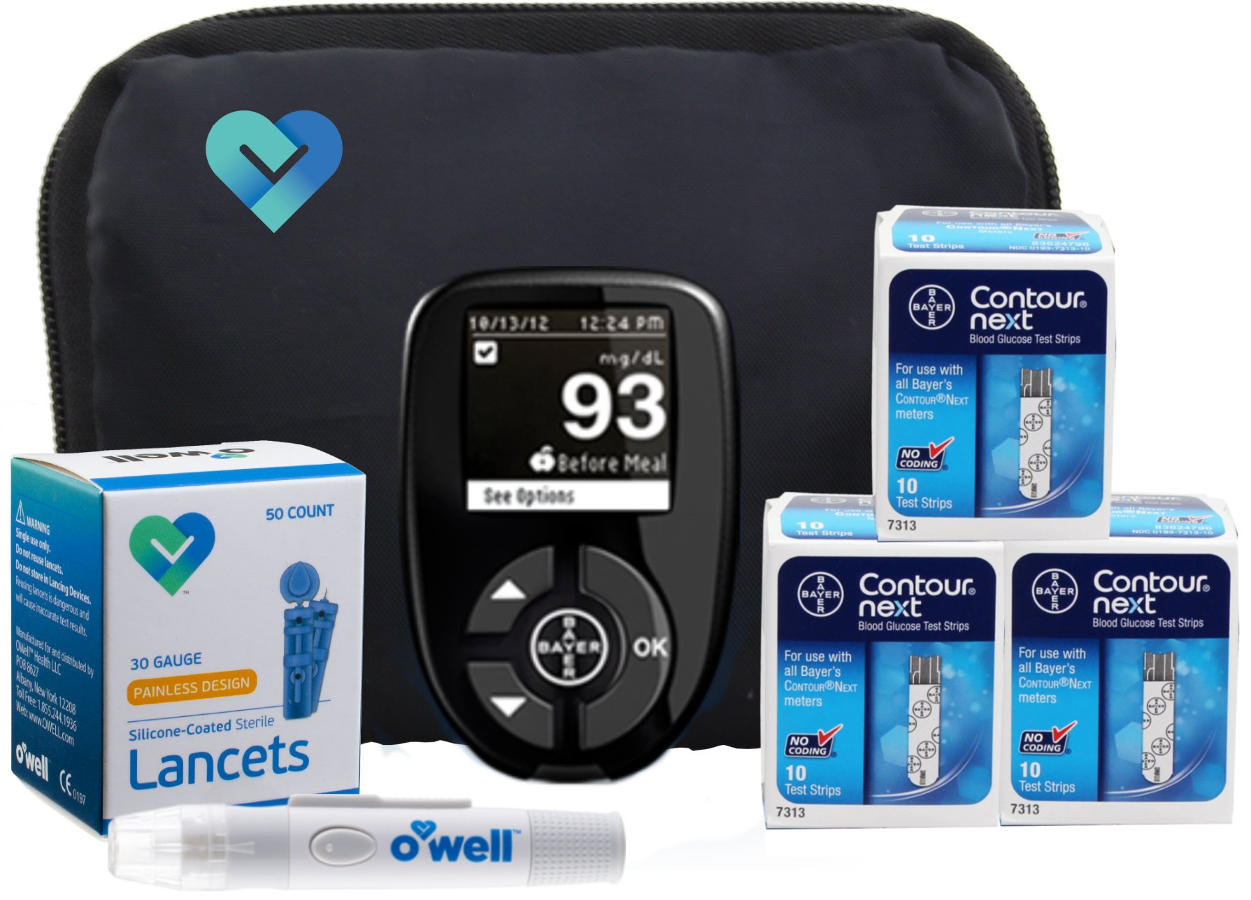 OWell Bayer Contour NEXT Diabetes Blood Glucose Testing Kit, METER, 30 Test Strips, 30 Lancets, and Lancing Device