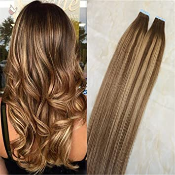 20pc/50g Real Hair Extensions Tape In Balayage Color Chocolate Brown to  Honey Blonde Mixed