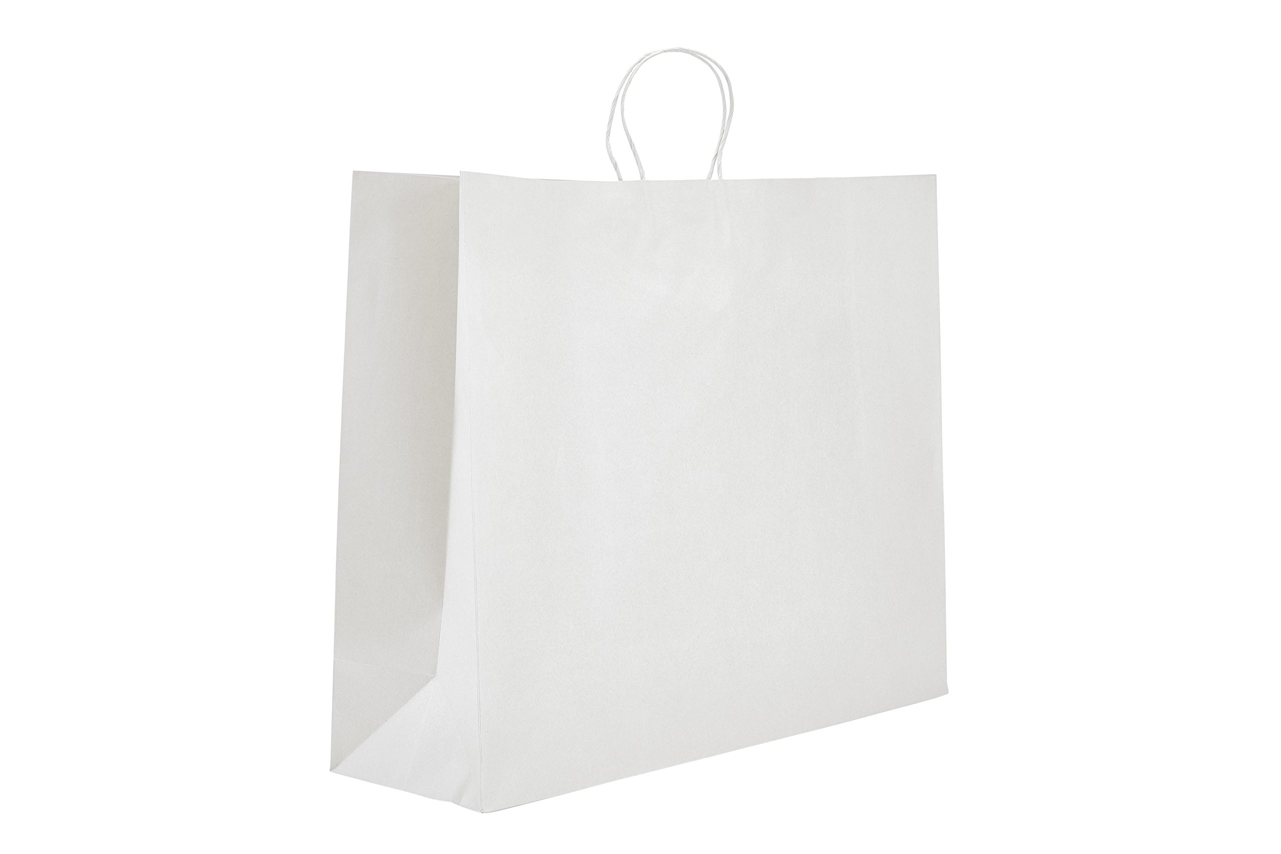 PTP - 24'' x 7.25'' x 18.75'' White Kraft Paper Gift Tote Bags - 125 count | Perfect for Birthdays, Weddings, Holidays and All Occassions |