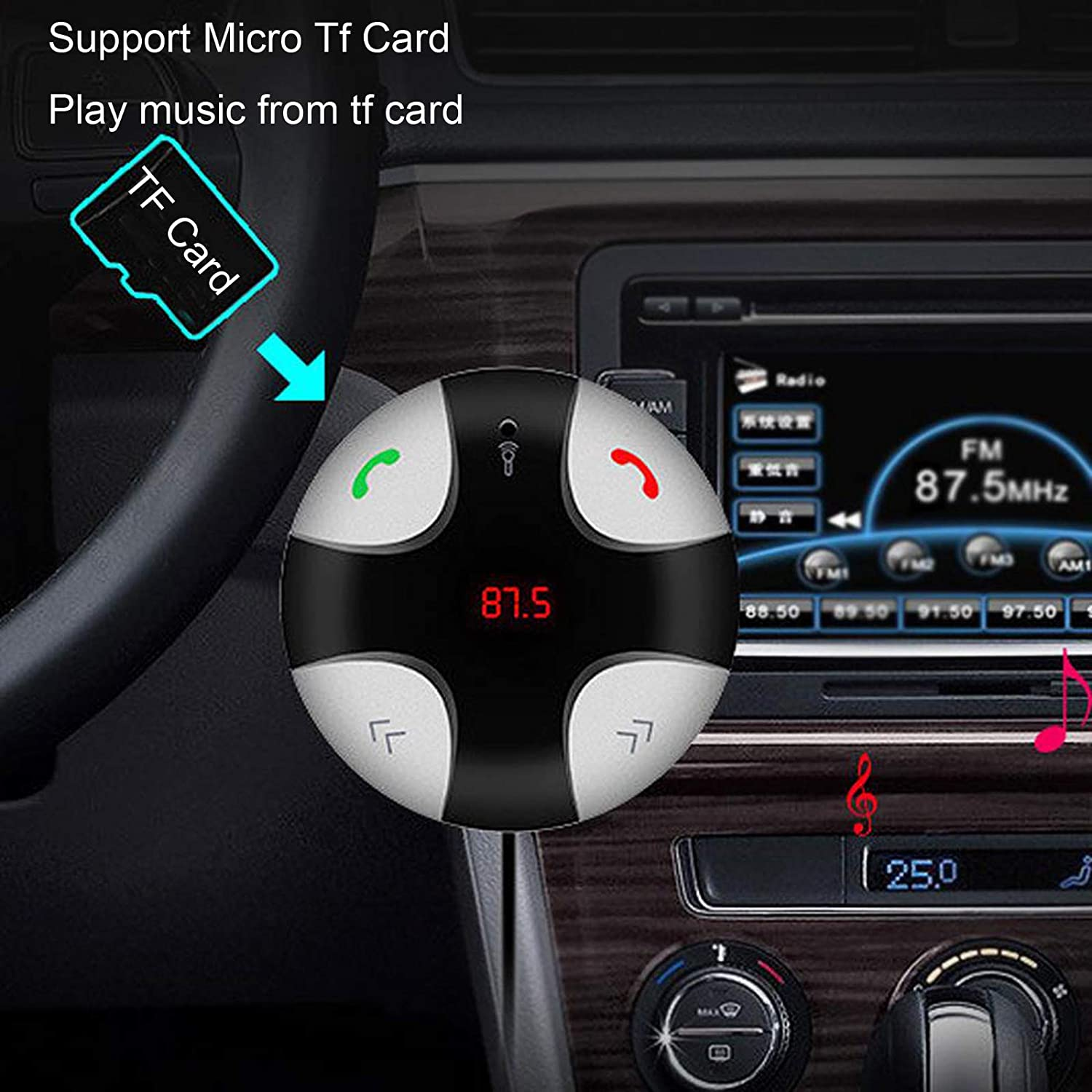 TOPEPOP Bluetooth FM Transmitter Car Kit Wireless Handsfree Calling with Magnetic Music Adapter Receiver Cellphones Car Speaker Converter for Smartphones