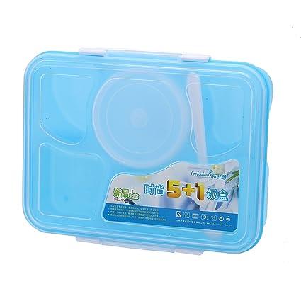 Pinzhi - Caja de Almuerzo Bento Cinco Contenedores de Alimentos Cubertería para Llevar Desayuno Contenedor de
